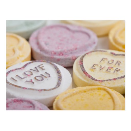 Conversation hearts candy I Love You Forever photo Postcard