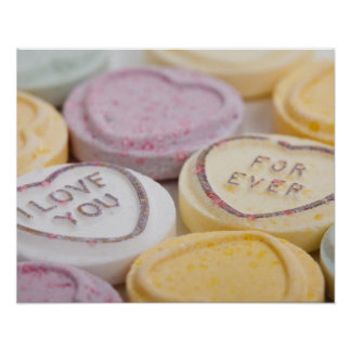 Conversation hearts candy I Love You Forever photo Poster