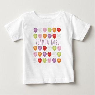 Conversation Hearts Personalised Baby T Shirt