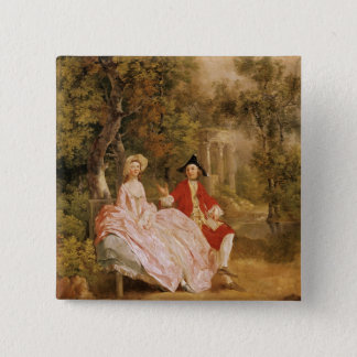 Conversation in a Park, portrait of the artist and 15 Cm Square Badge