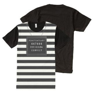 Convict Halloween Costume, Mugshot Custom Text All-Over Print T-Shirt