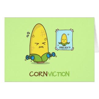 Conviction punny corn workout cartoon card