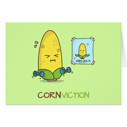 Conviction punny corn workout cartoon card