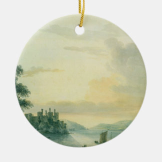 Conway Castle, 1789 (w/c on paper) Round Ceramic Decoration