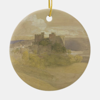 Conway Castle (graphite, w/c and gouache on paper Round Ceramic Decoration