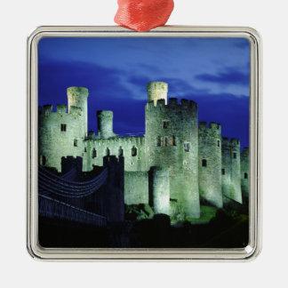Conwy Castle, Gwynedd, Wales Silver-Colored Square Decoration