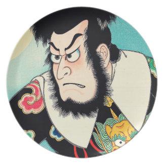 Coo; Oriental Japanese Kezori Kyuemon tattoo Dinner Plate