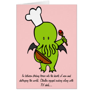 Cook Along With Cthulhu Greeting Card