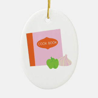 Cook Book Double-Sided Oval Ceramic Christmas Ornament