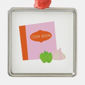 Cook Book Silver-Colored Square Decoration
