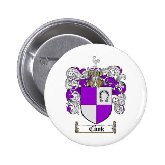 COOK FAMILY CREST -  COOK COAT OF ARMS 6 CM ROUND BADGE