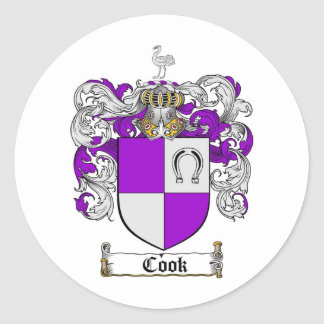 COOK FAMILY CREST -  COOK COAT OF ARMS ROUND STICKER