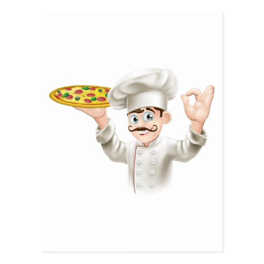 Cook holding a tasty pizza postcard