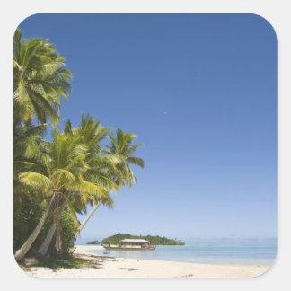 Cook Islands, Aitutaki. Polynesian canoe tour to Square Sticker