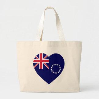 Cook Islands Flag Heart Jumbo Tote Bag