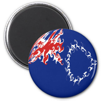 Cook Islands Gnarly Flag 6 Cm Round Magnet