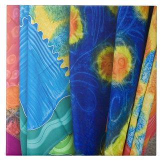Cook Islands, Rarotonga. Batik cloth Punanga Nui Large Square Tile