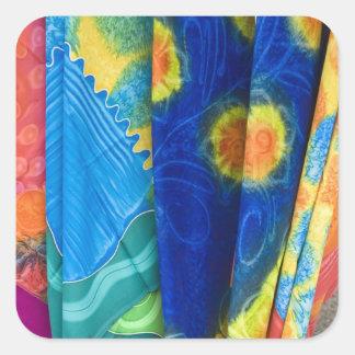 Cook Islands, Rarotonga. Batik cloth Punanga Nui Square Sticker