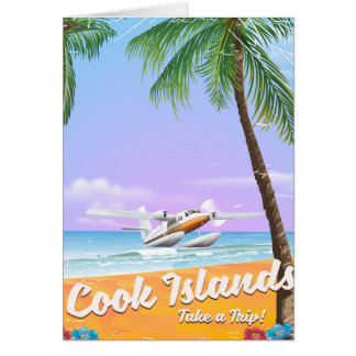 Cook Islands Vintage travel beach poster. Card