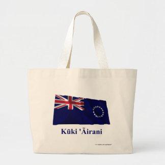 Cook Islands Waving Flag with Name in Maori Jumbo Tote Bag