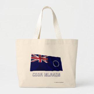 Cook Islands Waving Flag with Name Jumbo Tote Bag