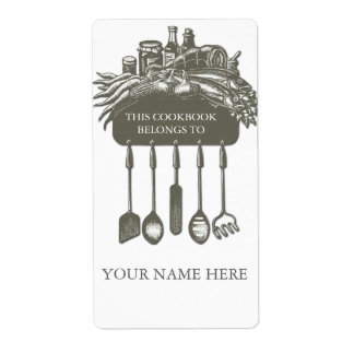 Cookbook Collection Bookplate ..grey Shipping Label