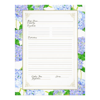 Cookbook Page Blue Hydrangea Lace Floral Formal Custom Flyer