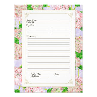 Cookbook Page Pink Hydrangea Lace Floral Formal