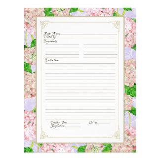 Cookbook Page Pink Hydrangea Lace Floral Formal 21.5 Cm X 28 Cm Flyer