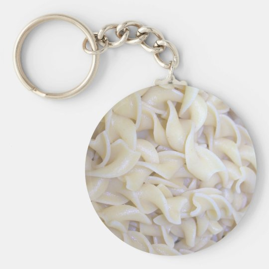 Cooked Egg Noodles Basic Round Button Key Ring