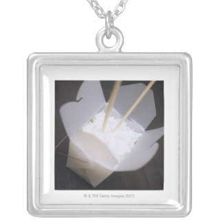 Cooked Rice in a To-go Container Silver Plated Necklace