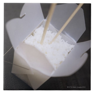 Cooked Rice in a To-go Container Large Square Tile