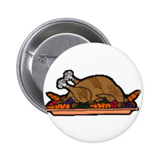 cooked turkey 6 cm round badge