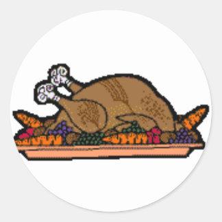 cooked turkey classic round sticker