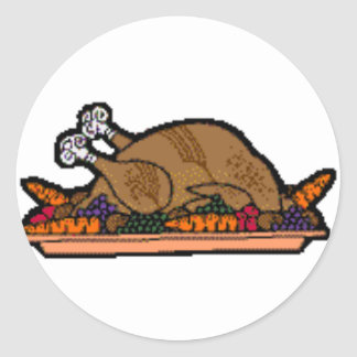 cooked turkey round sticker