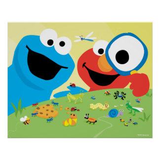 Cookie and Elmo Looking for Bugs Poster