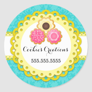Cookie Bakery Damask Yellow Scallop Seals Round Sticker