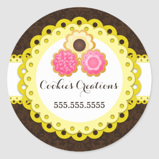Cookie Bakery Damask Yellow Scallop Seals Round Sticker
