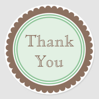 Cookie Cut Chocolate Mint Thank You Stickers