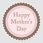 Cookie Cut Chocolate Pink Mother's Day Stickers
