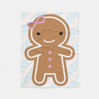 Cookie Cute Gingerbread Girl Fleece Blanket