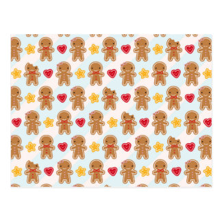 Cookie Cute Kawaii Gingerbread Men Postcard