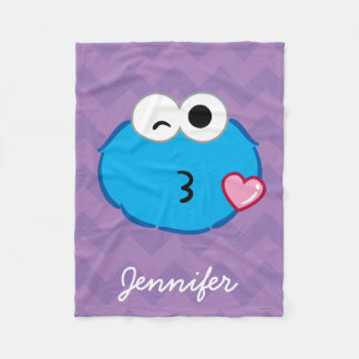 Cookie Face Throwing a Kiss | Add Your Name Fleece Blanket