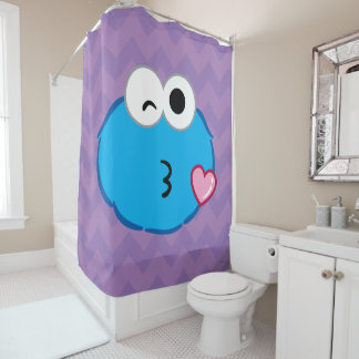 Cookie Face Throwing a Kiss Shower Curtain