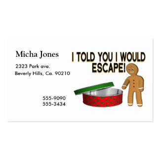 Cookie Gingerbread Man Escape Pack Of Standard Business Cards