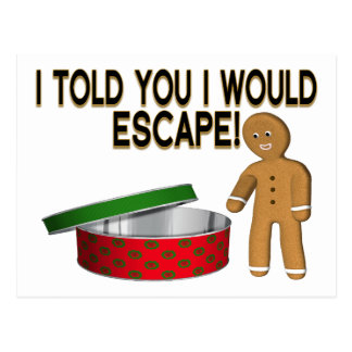 Cookie Gingerbread Man Escape Postcard