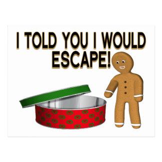 Cookie Gingerbread Man Escape Postcard
