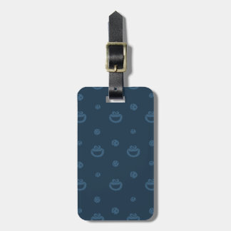 Cookie Monster and Cookies Blue Navy Pattern Luggage Tag