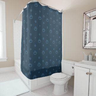 Cookie Monster and Cookies Blue Navy Pattern Shower Curtain