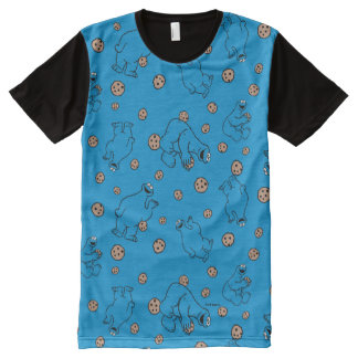 Cookie Monster and Cookies Blue Pattern All-Over Print T-Shirt